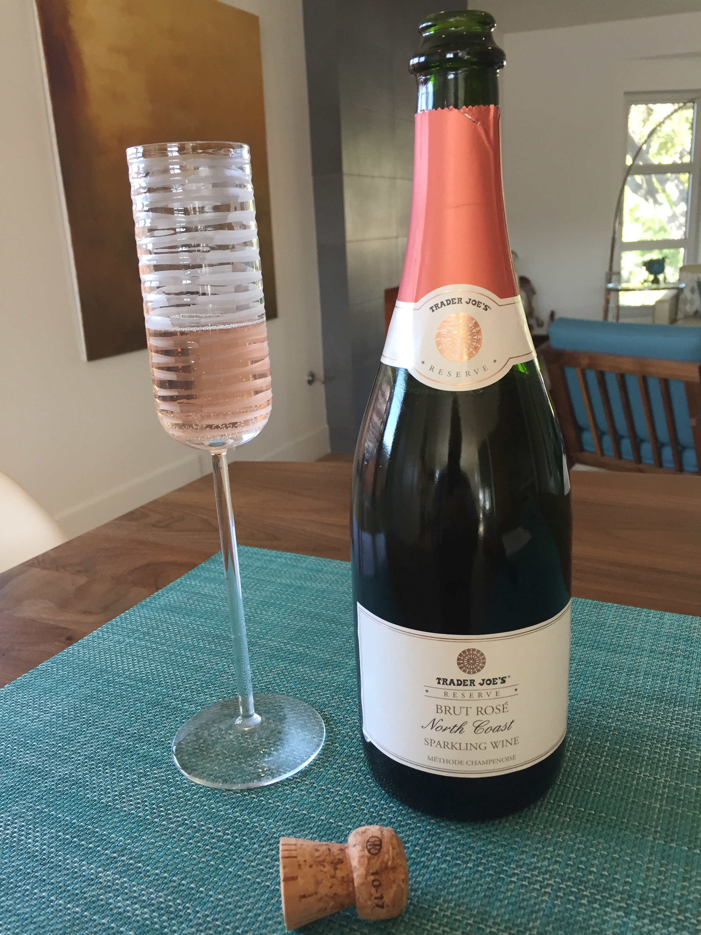 Bottle and glass of Trader Joe's Reserve North Coast Brut Rose