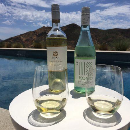 Bottle and glass of Babich Sauvignon Blanc (left) and Kono Sauvignon Blanc (right).