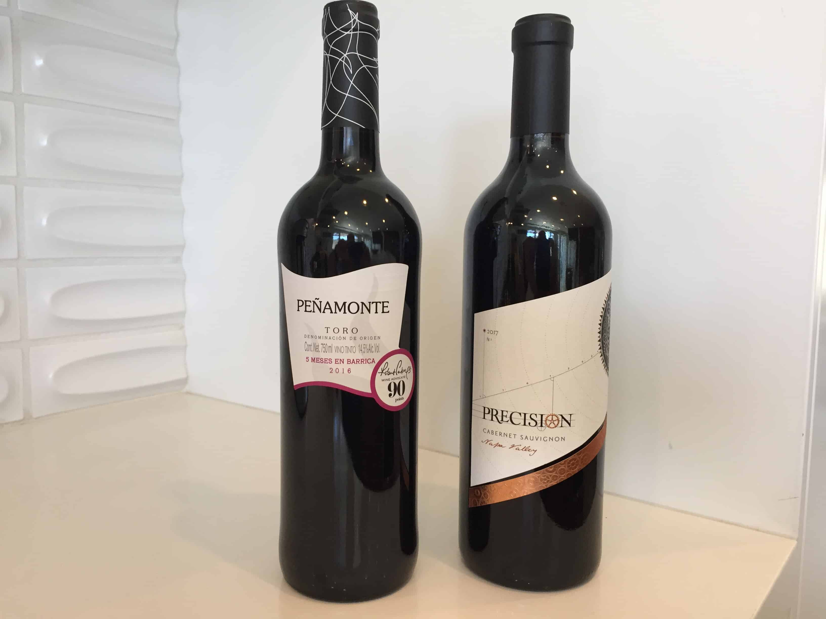 Bottle of Penamonte Tempranillo (left) and Precision Napa Cabernet Sauvignon.