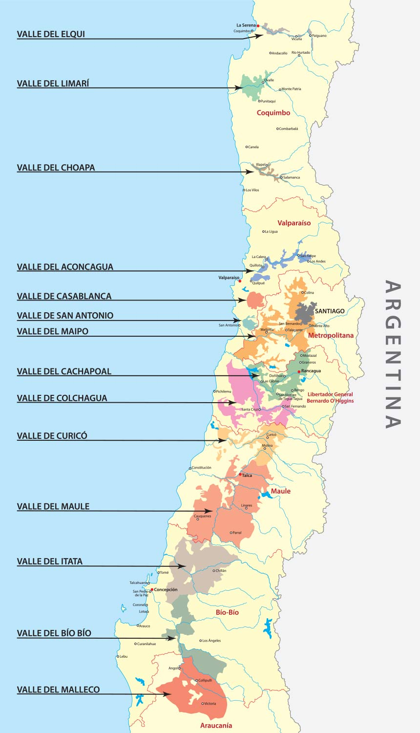 Map of Chile and its wine regions.