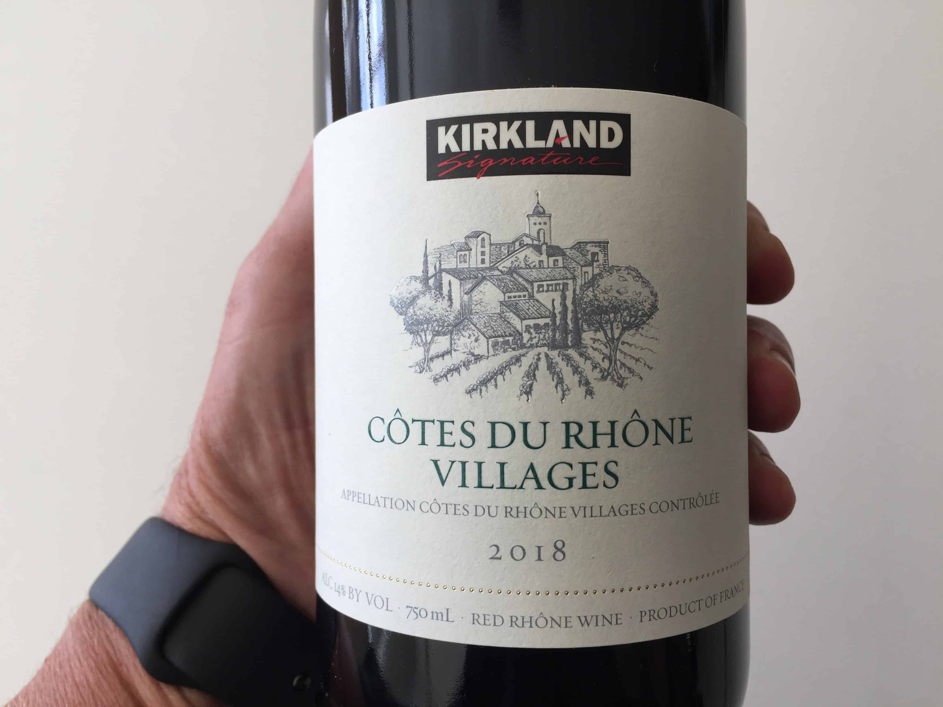 Front label of Kirkland Signature Cotes du Rhone Villages 2018