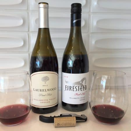Bottle and glass of Laurelwood Pinot Noir (left) and Firesteed Pinot Noir (right) - both from Trader Joe's