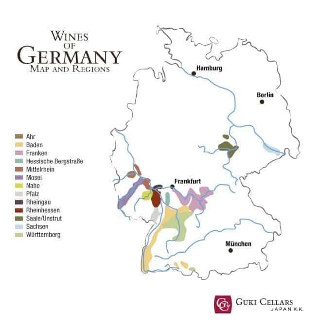 Map showing the wine regions of Germany
