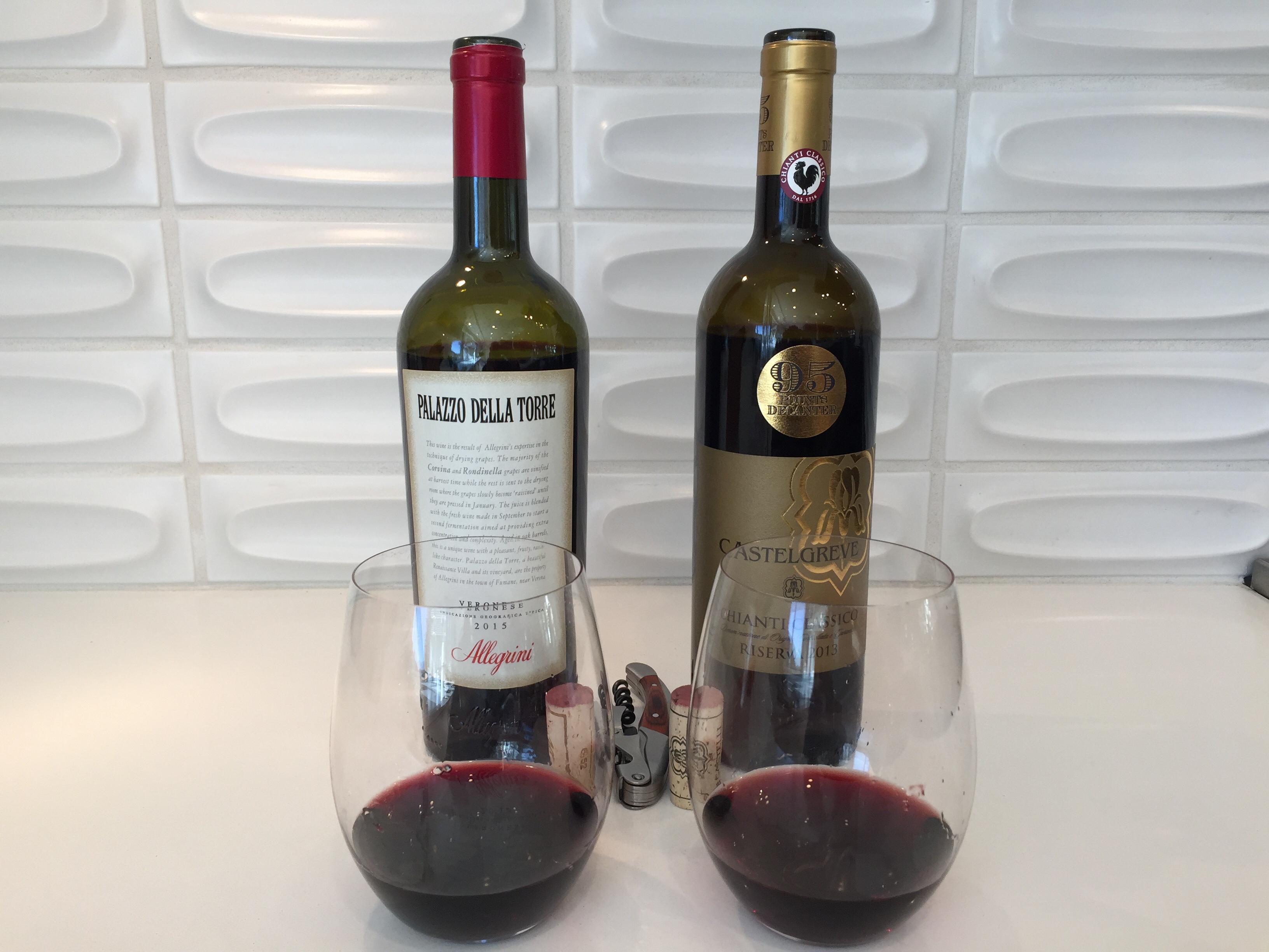 Bottle and glass of Allegrini Palazzo Torre 2015 and Castelgreve Chianti Classico Riserva 2013