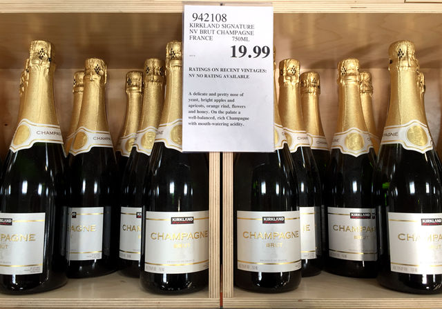 Bin of Kirkland Signature Champagne at Costco
