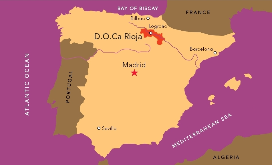 Map of Rioja and Spain