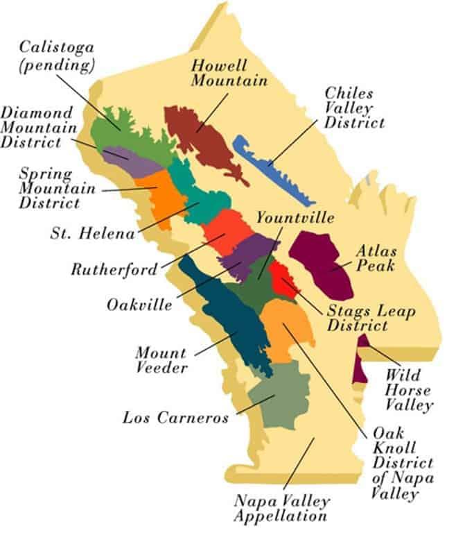 Map of Napa AVA's