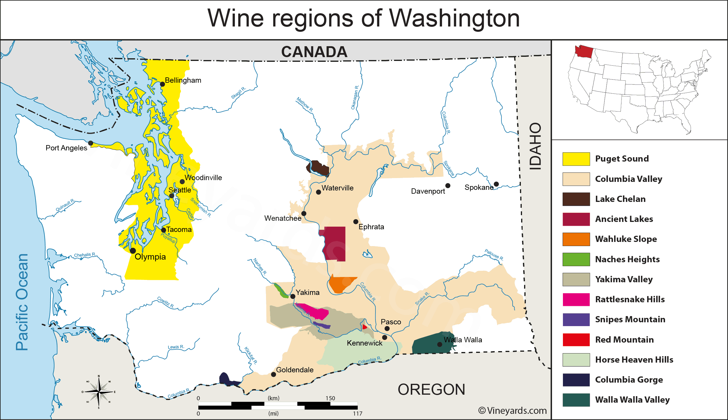 Map of the wine regions of Washington state