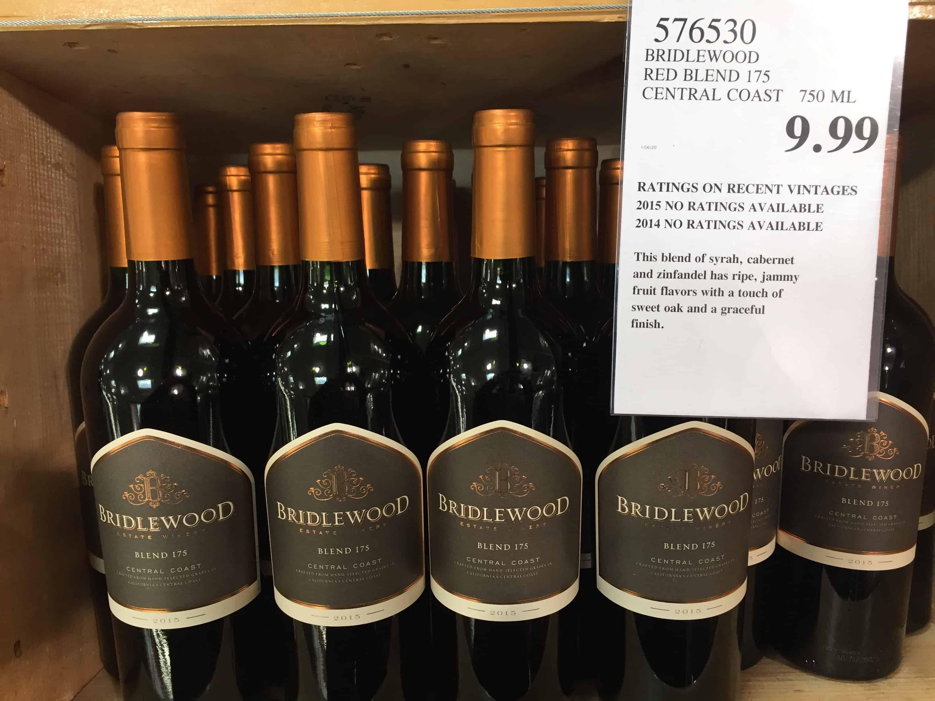 Costco wine bin holding bottles of Bridlewood Red Blend wine