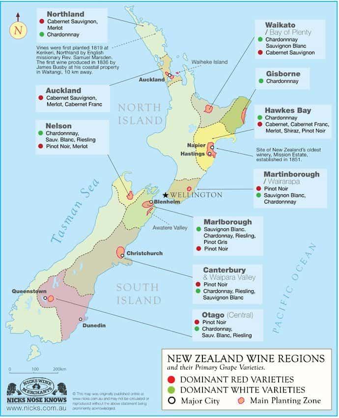 Map of New Zealand Wine Regions