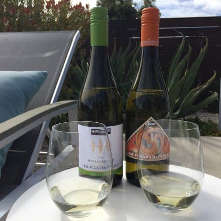 2 Glasses and bottles of New Zealand Sauvignon Blanc