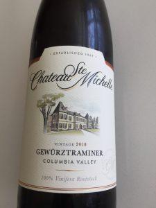 Front label of Chateau Ste. Michelle 2018 Gewurtztraminer
