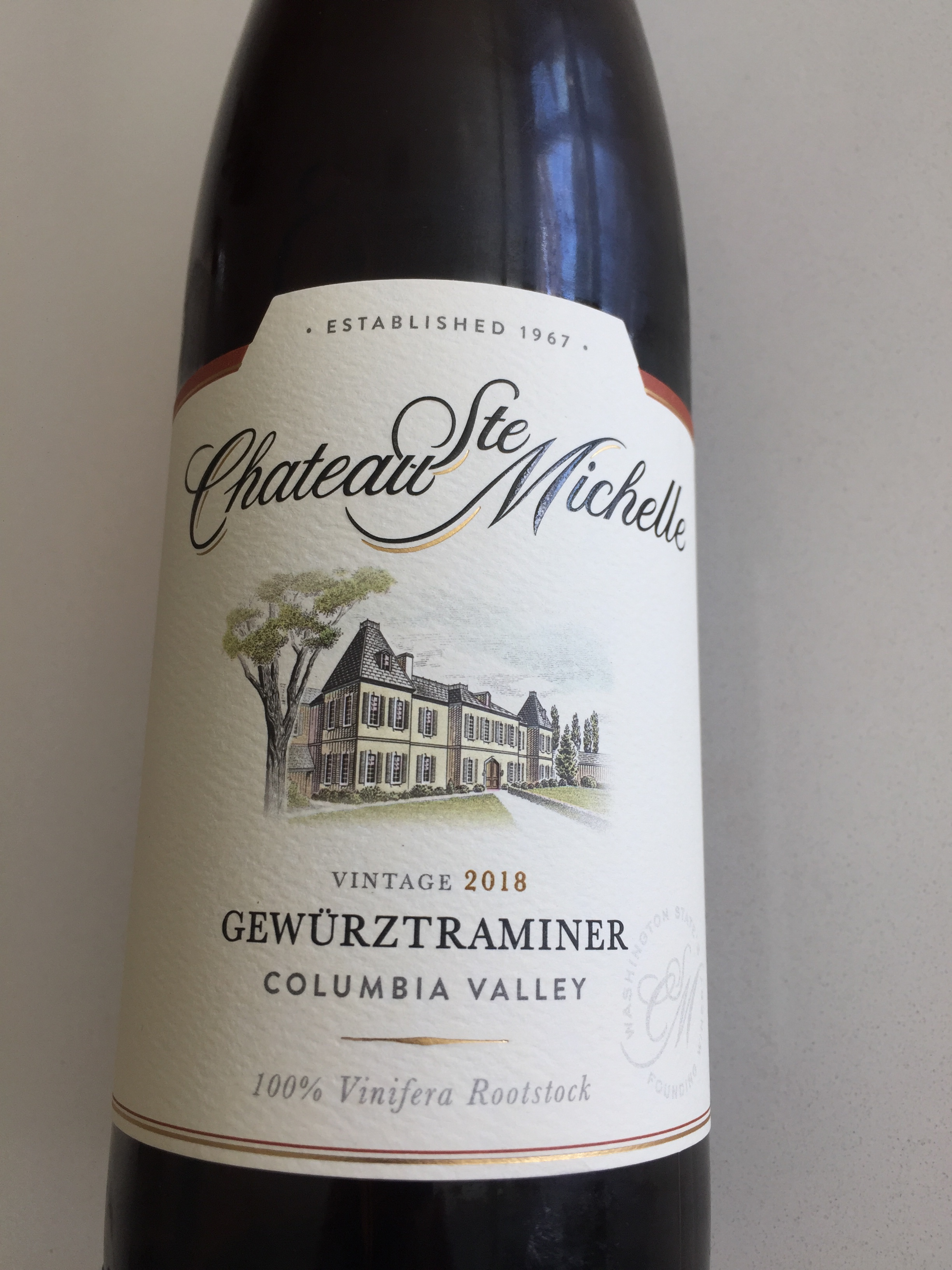 Front label of Chateau Ste. Michelle 2018 Gewurtztraminer