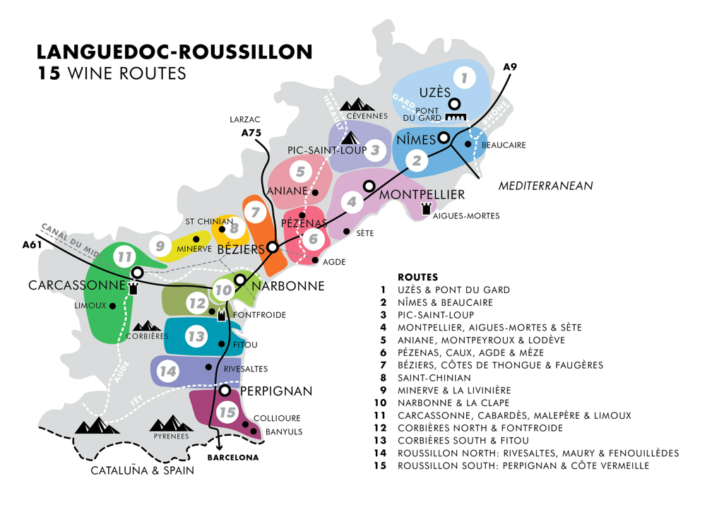 Map of France's Languedoc-Rousillon wine regions