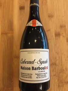 Photo of front label of 2018 Maison Barboulot Cabernet Syrah from Trader Joe's