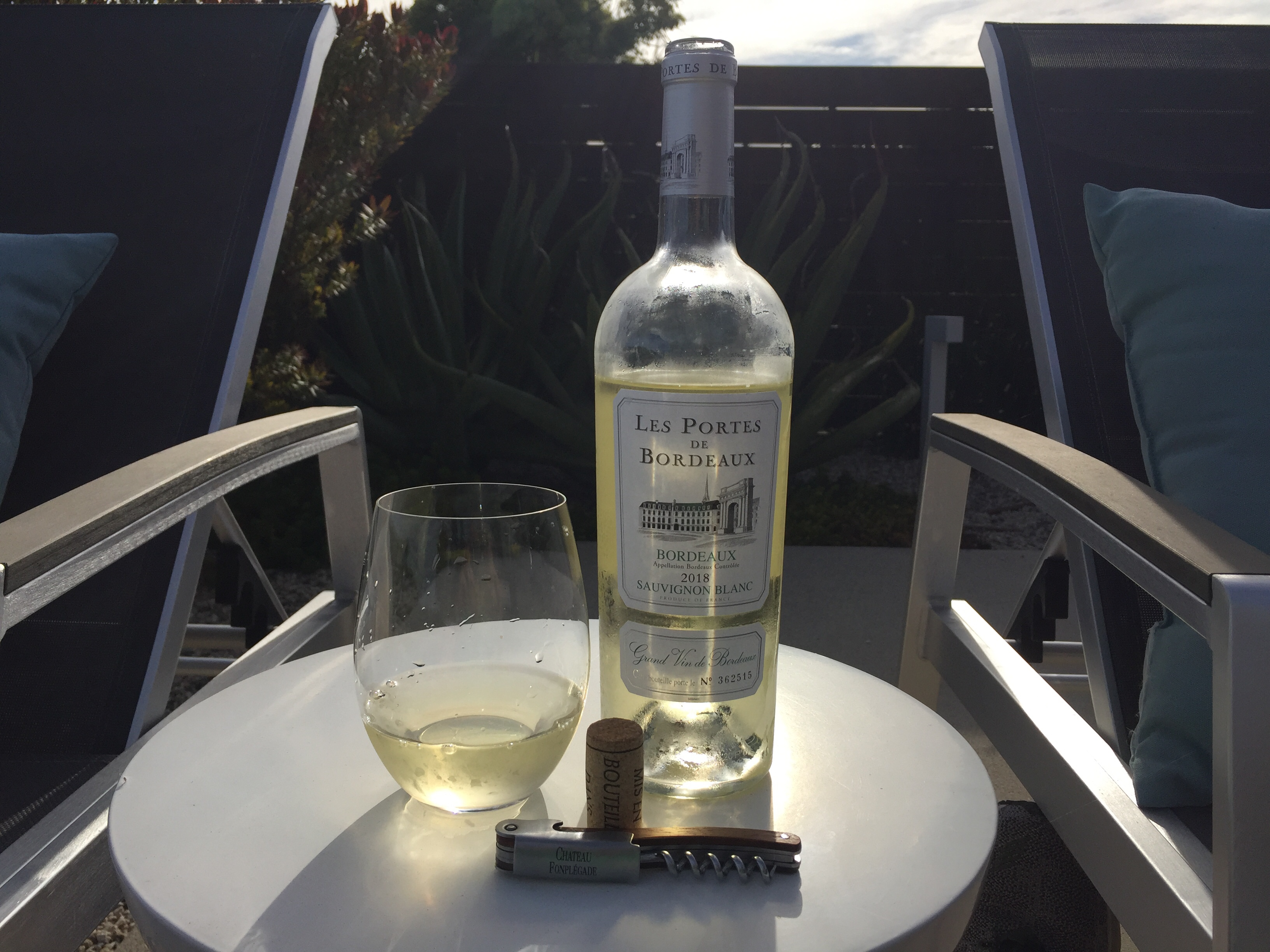 Bottle and glass of 2018 Les Portes De Bordeaux Sauvignon Blanc from Trader Joe's