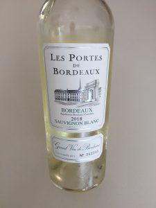 Bottle of 2018 Les Portes De Bordeaux Sauvignon Blanc from Trader Joe's