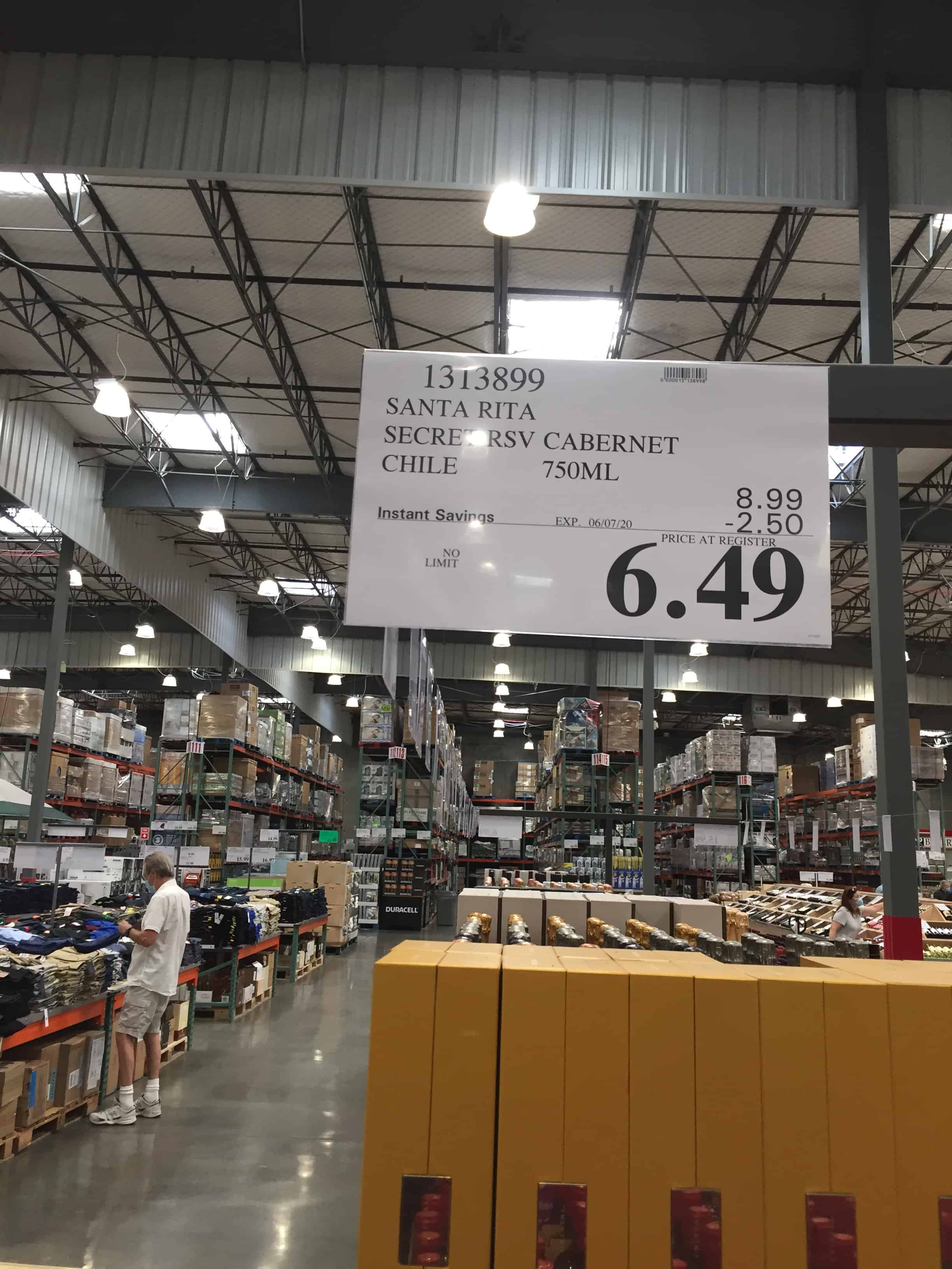 Costco sign showing discounted price of $6.49