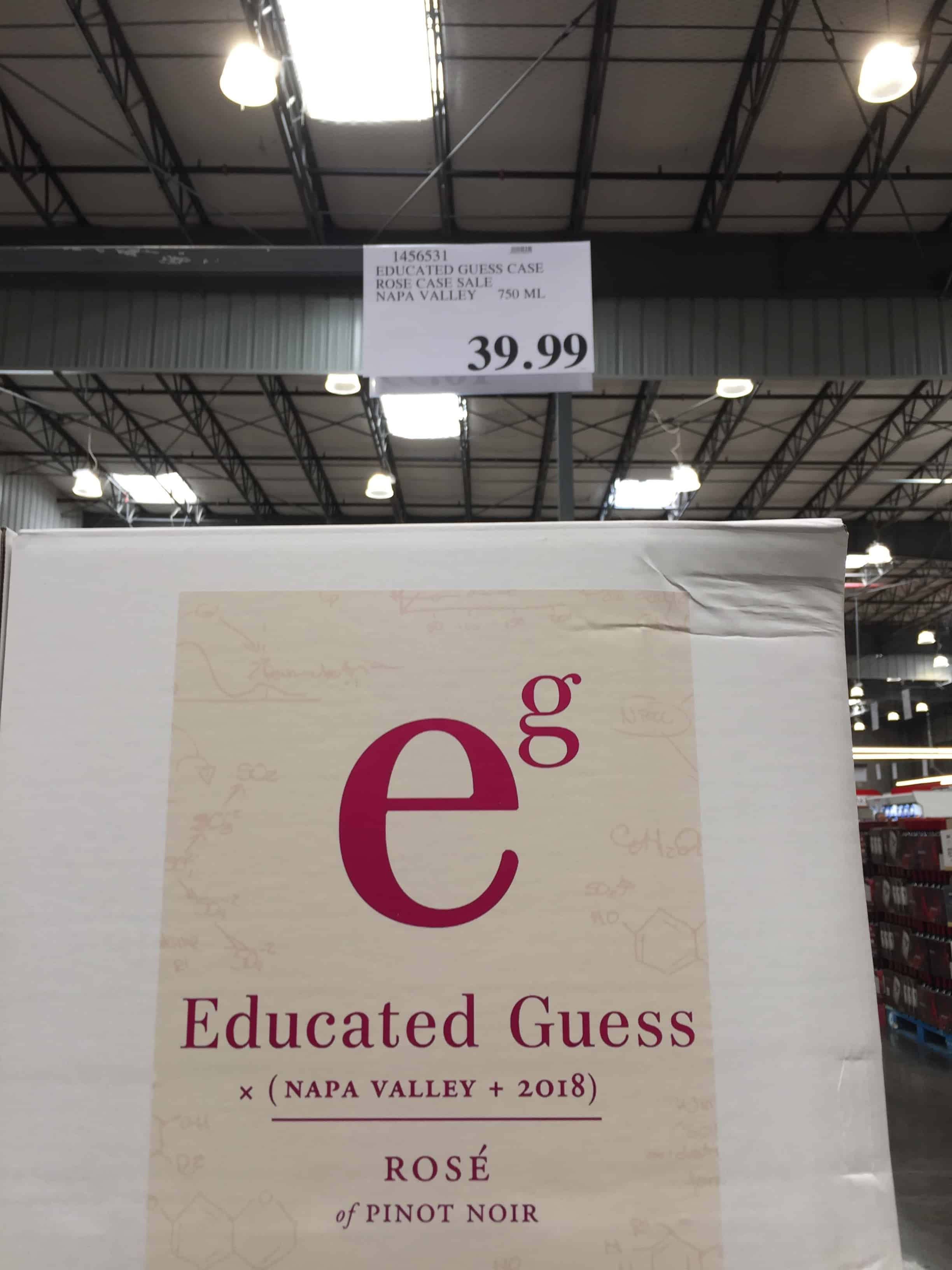 Display of Educated Guess 2018 Rose of Pinot Noir at Costco
