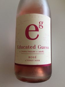 Front label of Educated Guess 2018 Rose of Pinot Noir from Costco