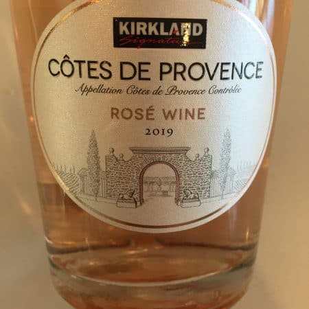 Front label of 2019 Kirkland Signature Cotes de Provence Rose from Costco