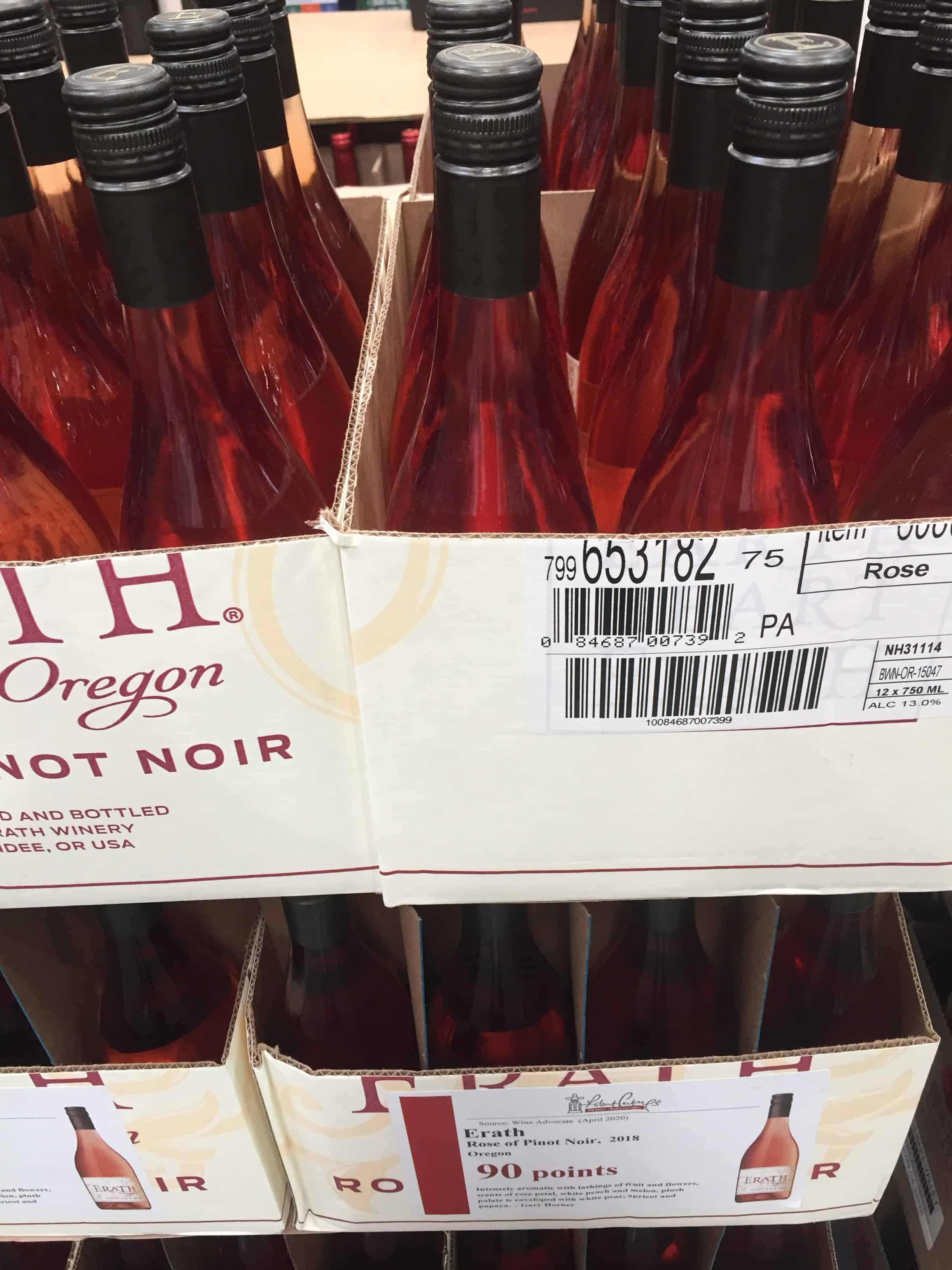 2018 Erath Winery Rosé of Pinot Noir case-stacked at Costco.