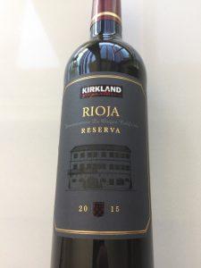 Front label of the Kirkland Signature Rioja Reserva 2015 from Costco.