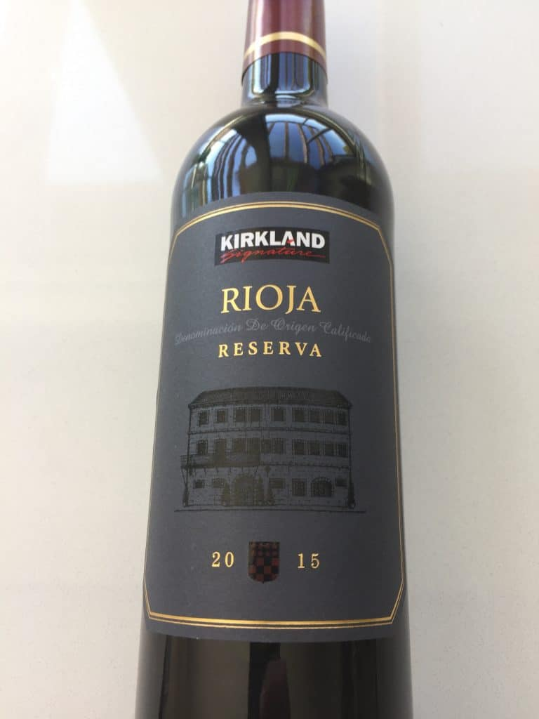 Front label of the Kirkland Signature Rioja Reserva 2015 from Costco.