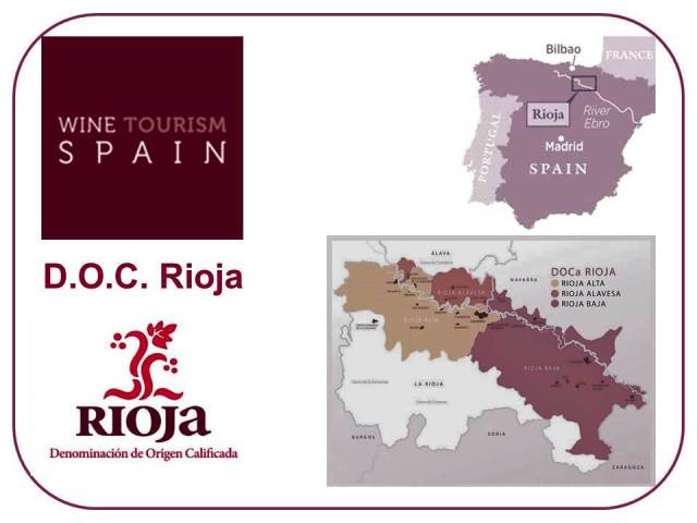 A map of Spain, showing the Rioja D.O.C. wine region.