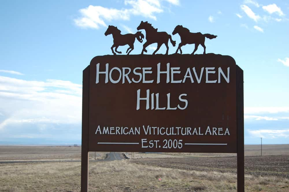 Entry sign for Horse Heaven Hills AVA in Washington State
