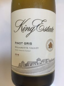 Front label of King Estate 2018 Pinot Gris wine from Costco