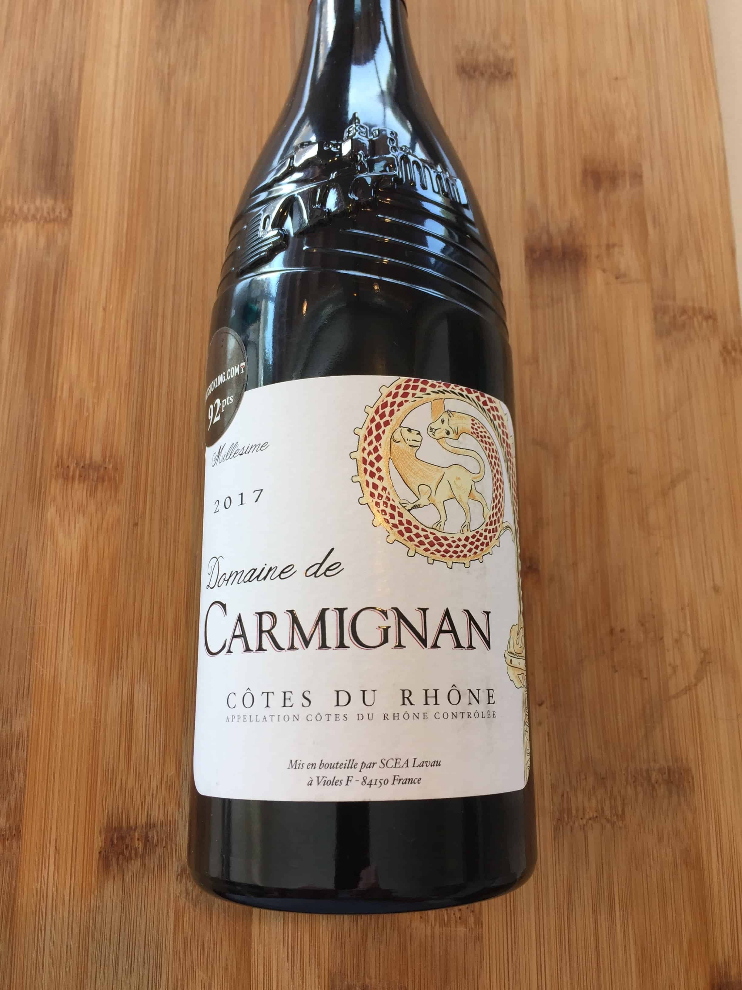 Front label on a bottle of the 2017 red blend from Domaine de Carmignan and Costco