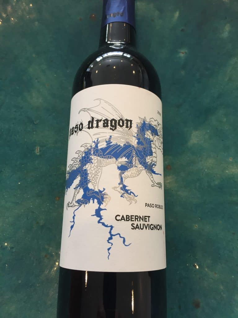 Front label of Paso Dragon 2018 Cabernet Sauvignon from Trader Joes