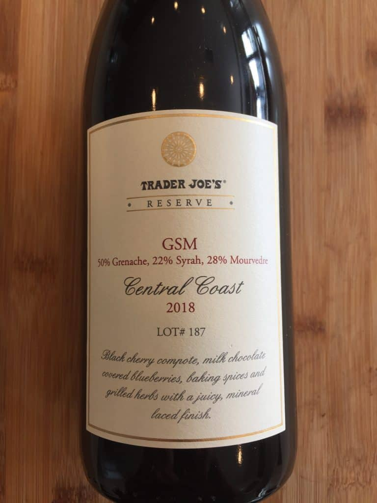 Front label of Trader Joe's Reserve 2018 GSM