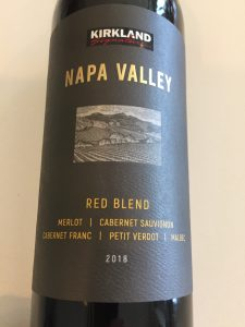 Front label of Kirkland Signature 2018 Napa Red Blend from Costco