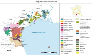 Map of France's Languedoc-Roussillon wine region