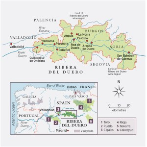 Map showing the Ribera del Duero wine region in Spain