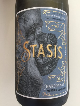 Front label of Stasis 2015 Chardonnay from Costco