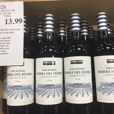 Bin of bottles of Kirkland Signature 2014 Ribera del Duero Gran Reserva