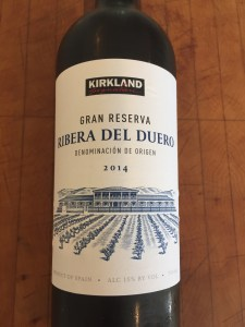 Front label of botte of Kirkland Signature 2014 Ribera del Duero Gran Reserva