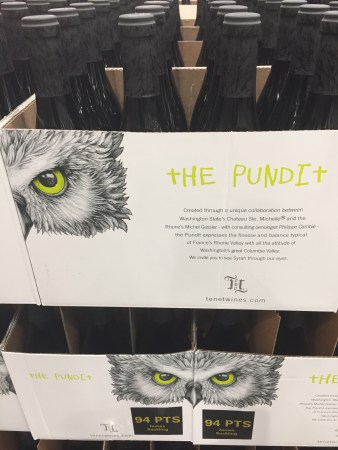 Photo of the Costco display for the 2017 Syrah called The Pundit from Tenet Wines