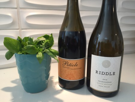 Bottle of 2019 Petiole Pinot Noir and 2018 Riddle Chardonnay from Trader Joe's