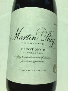 Front label of Martin Ray 2018 Pinot Noir from Costco