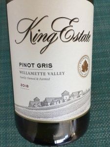 Front label of King Estate 2018 Pinot Gris from Costco