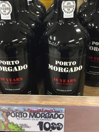 Shelf display of Porto Morgado Tawny Port at Trader Joe's showing $10.99 price