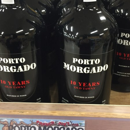 Shelf display of Porto Morgado Tawny Port at Trader Joe's showing $10.99 price