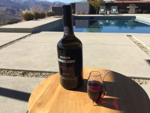 Bottle and glass of Porto Morgado 10 year old Tawny Port from Trader Joe's