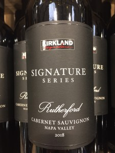 Front label of Kirkland Signature Series Rutherford/Napa Cabernet Sauvignon 2018 at Costco