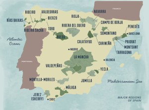 Wine map of major Spanish wine regions, showing Yecla in the south east.