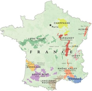 Wine map of France. Gigondas is a part of the lower Rhone Valley in the southeastern corner of the country.